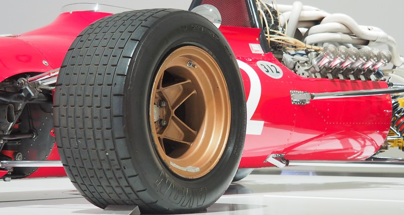 Low vantage point of a vintage Ferrari racing car