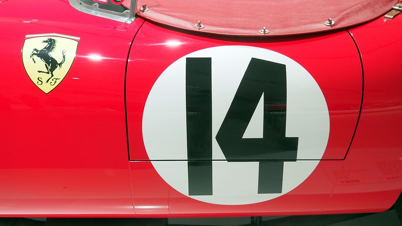 Number 14 of a vintage Ferrari car at the Enzo Ferrari Museum