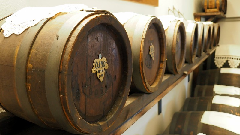 A tour of the cellar where we could see many barrels in Emilia-Romagna