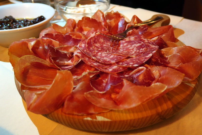 A glorious plate of Italian deli meat in Emilia-Romagna, Italy