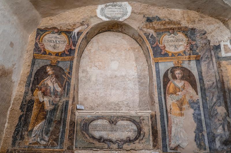 The frescoes inside Convento di Sant'Agostino in Matera, Italy.