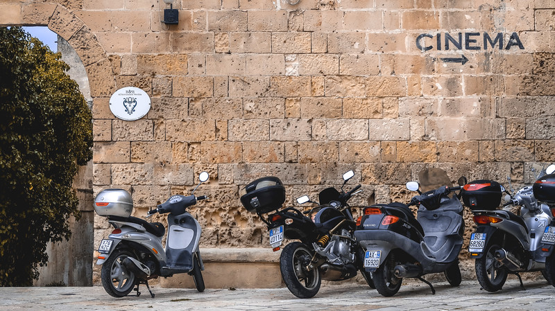 Row of scooters in Matera.