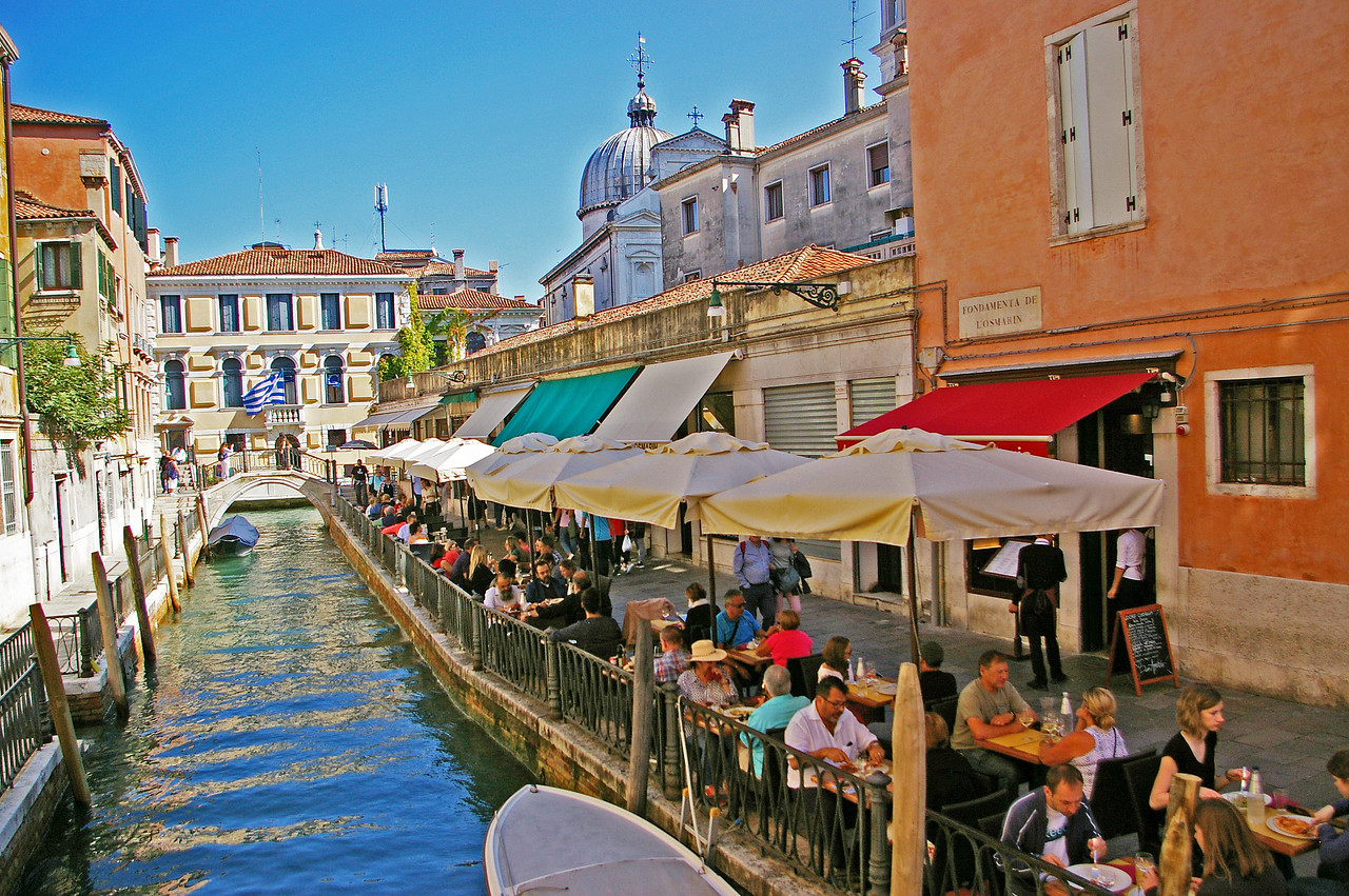 Canal Side dining in Venice