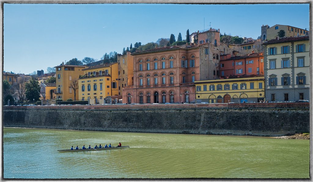 Rowers on the Arno River Florence