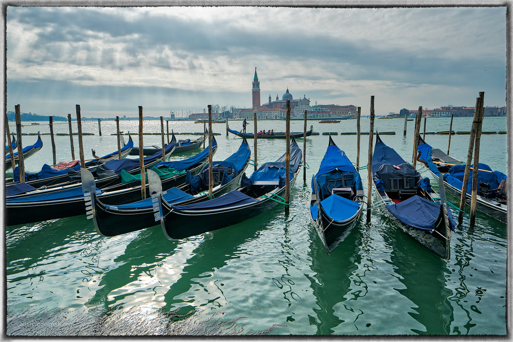 Parked Gondolas in Venice on Grand Canal