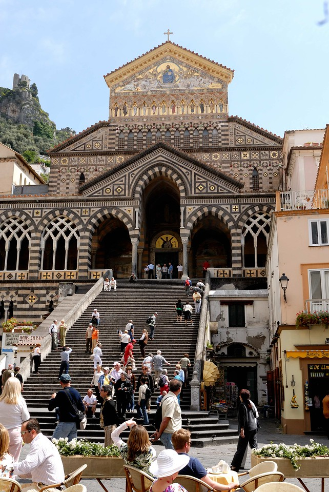 Amalfi's church, opening onto the main piazza, has a Moorish influence