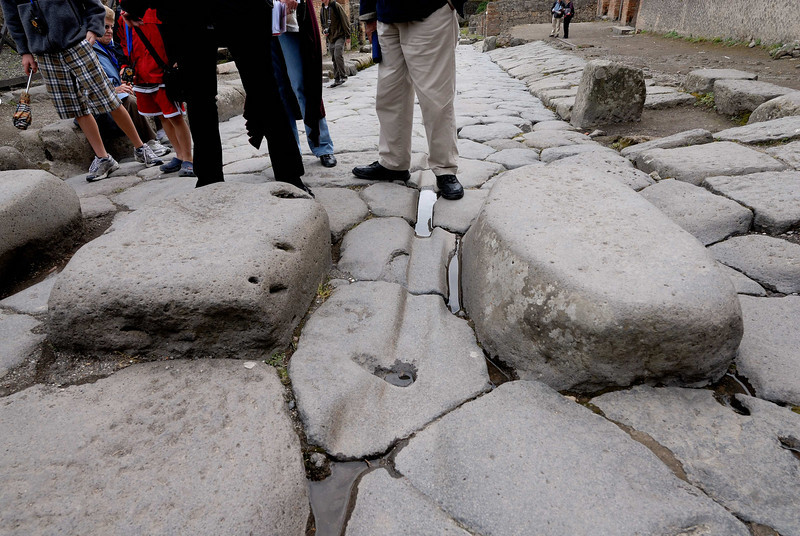 Ruts worn into the stone by chariots