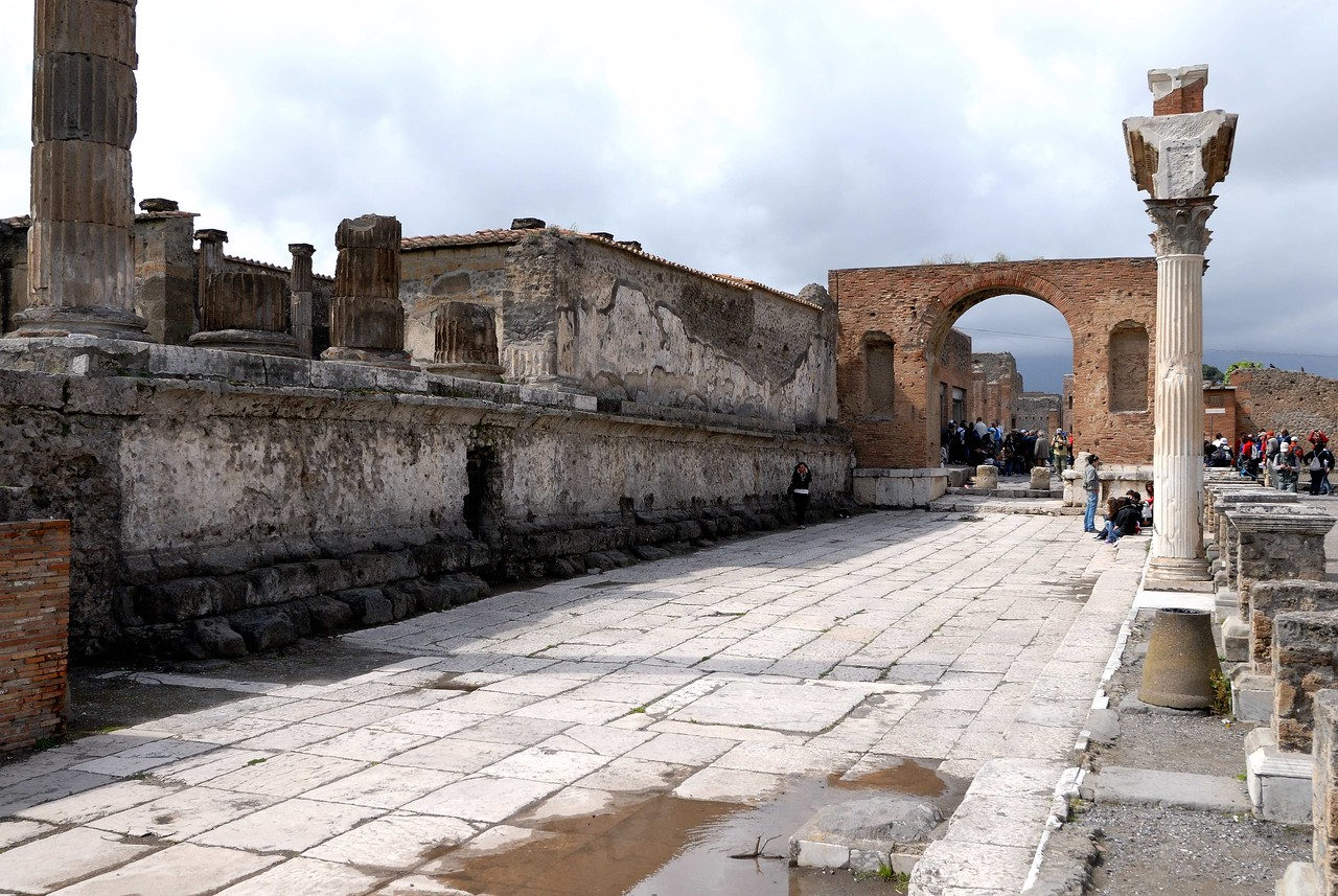 The forum was mostly paved and was the city center