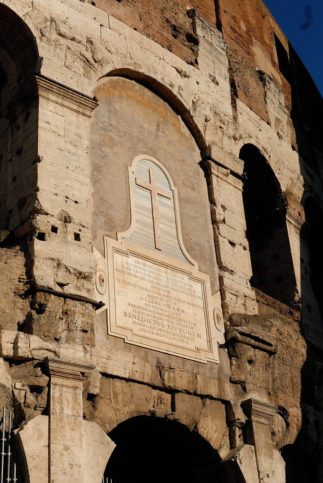 In 1749, Pope Benedict XIV delared the colosseum sanctified by the blood of christians martyred here.  Historians note that no christians actually died here, but rather died at the Circus Maximus down the steet.  But the story lives on.