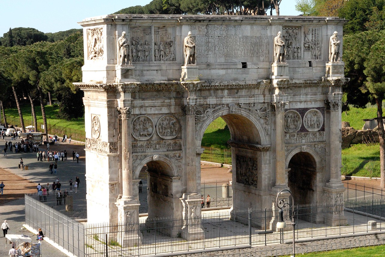 The Arch of Constantine as seen from the Colosseum.