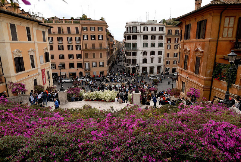 The view from atop the Spanish Steps
