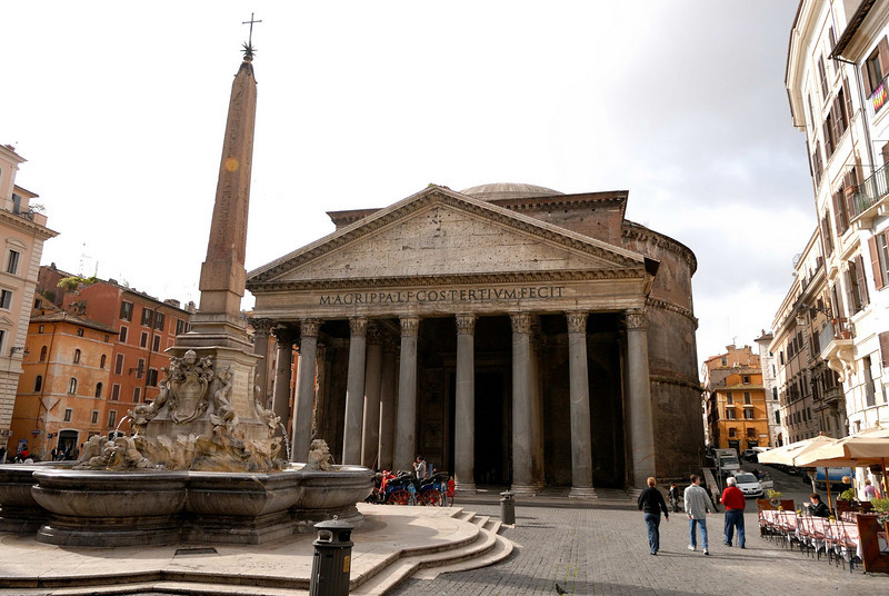 The Pantheon was rebuilt in AD 120 on an original built in 27 BC.  It is the best preserved building from antiquity because it became a church in AD 608.