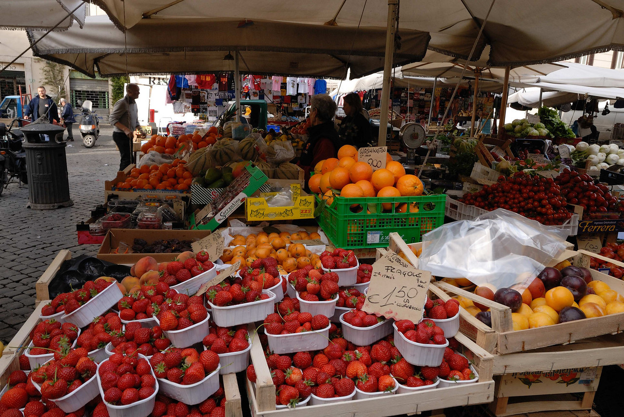 Campo de' Fiori (Field of Flowers) has been a market since before the 1600's and is still open every day except Sunday.