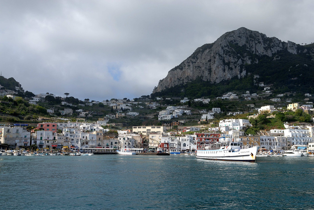 Capri is a mountainous island 16 miles from Naples. A most beautiful place.