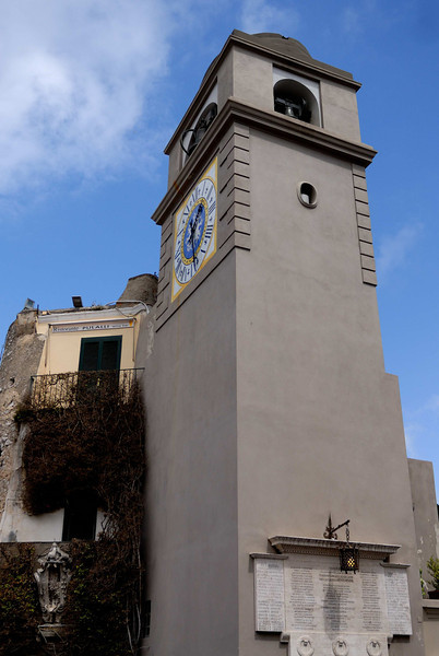 The town of Capri's clocktower on the main piazza