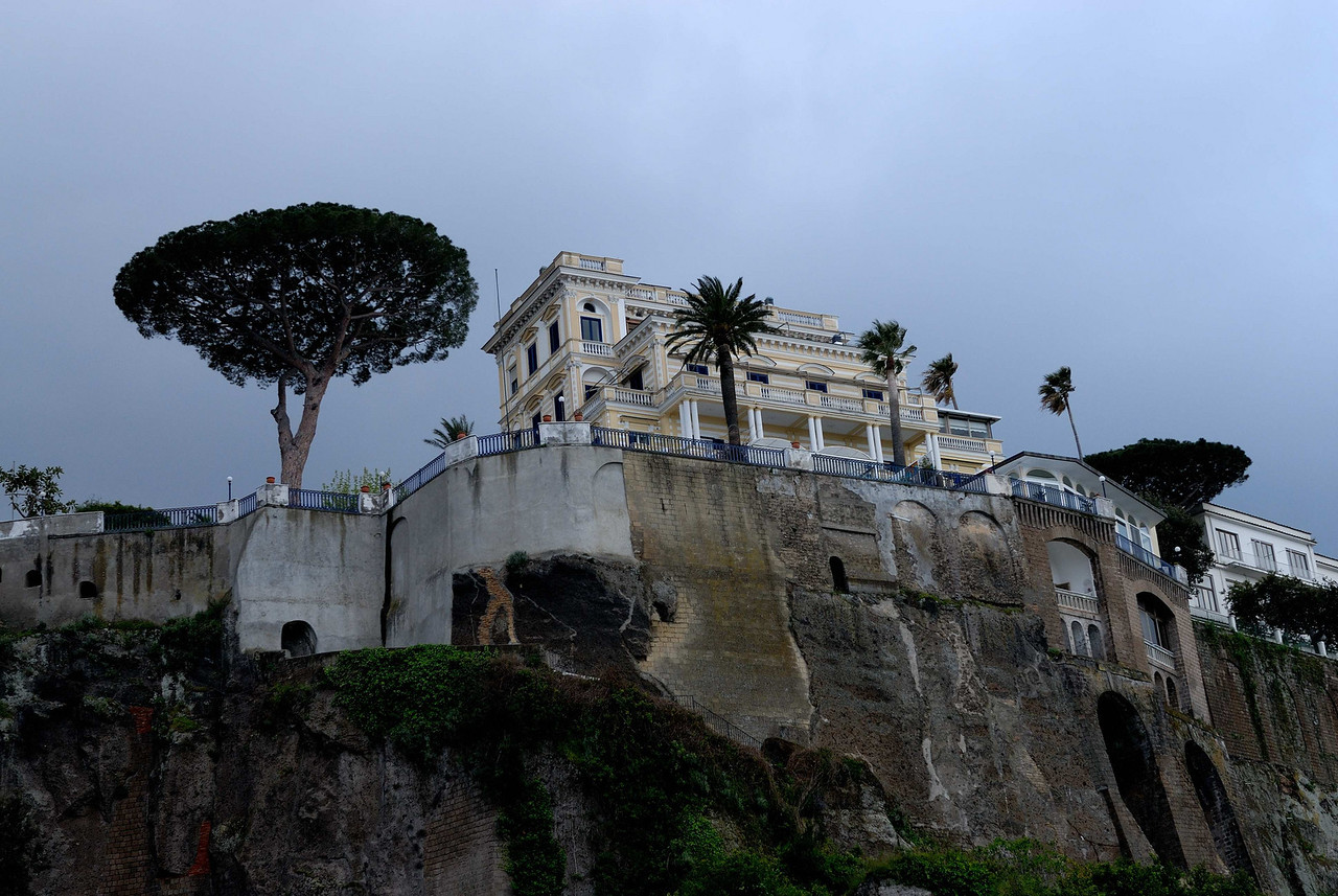 Sorrento is on a cliff overlooking the marina and the Bay of Naples