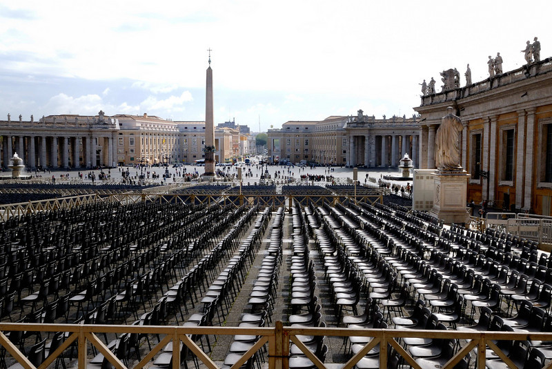 View from the front steps of St Peter's looking at the Obelisk and seating for the previous Sunday's Mass