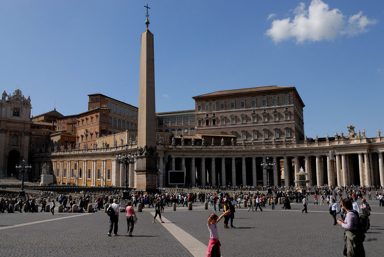 The Egyptian obelisk, brought to Rome in AD 38, and moved to St Peter's in 1586.