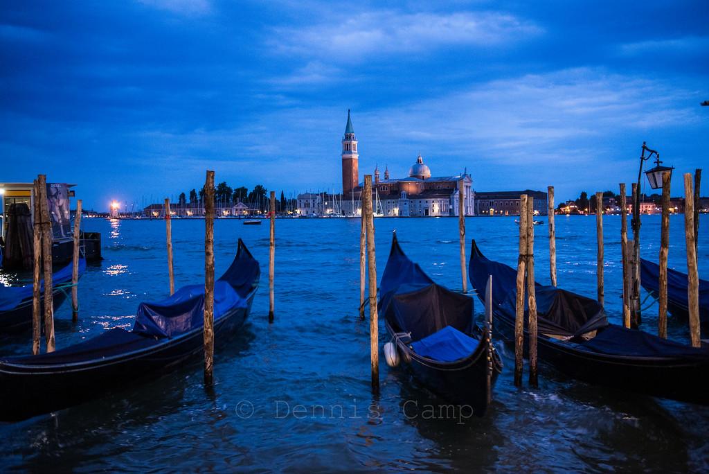 Parked Gondolas Venice Italy Waterfront