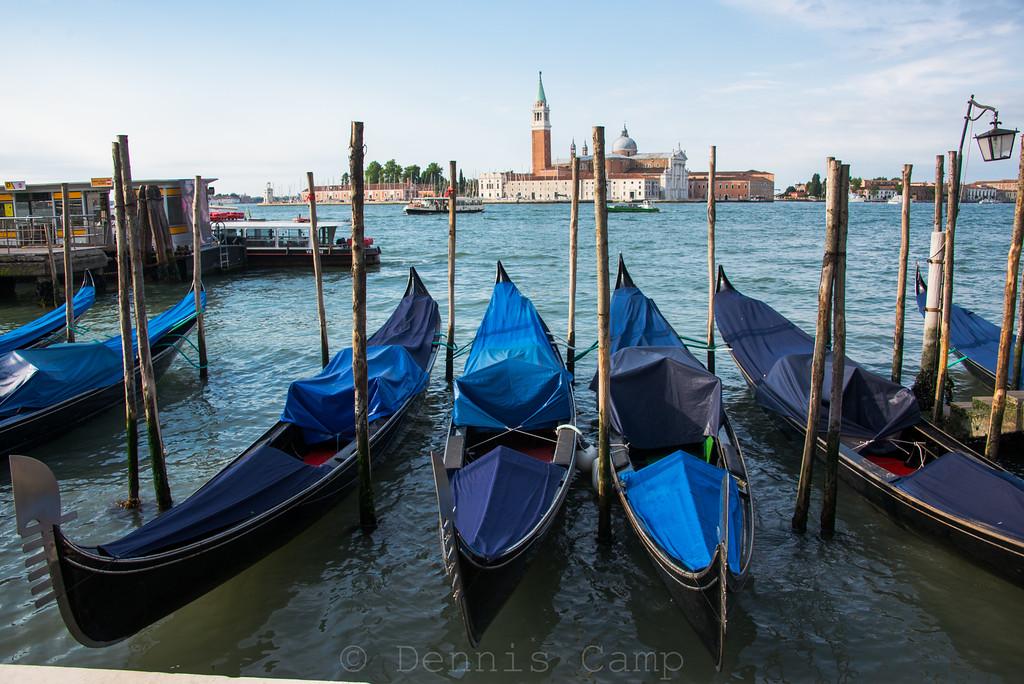 Docked Gondolas Sunrise - Venice Italy