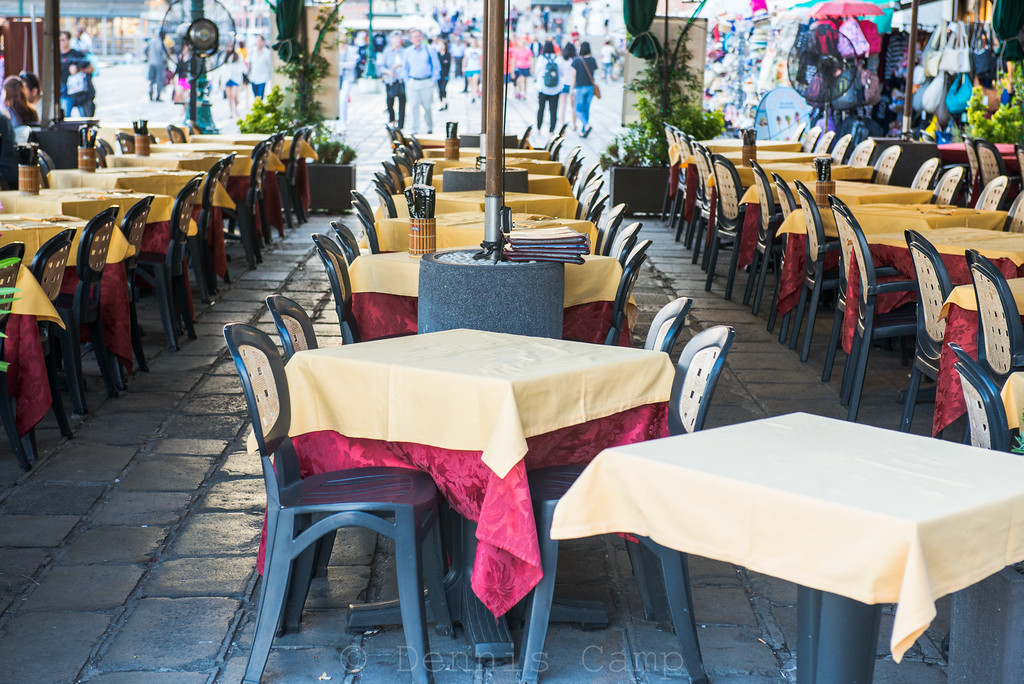 Restaurant Tables On Venezia Waterfront