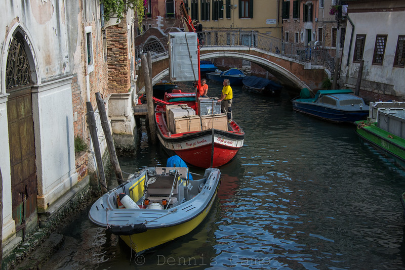 Construction Canal Boat Venice Italy
