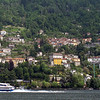 Hydrofoil Lake Ferry Boat on Lake Como Italy with city/town scape in the background