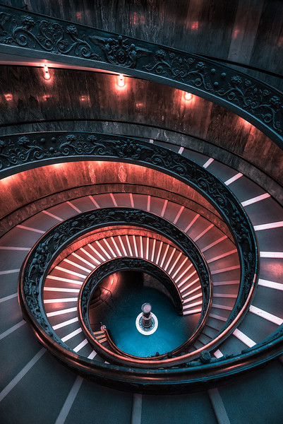 A famous spiral staircase in The Vatican Museum - Rome