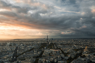 Paris seen during sunset from Montparnasse Tower Observation Deck - Paris