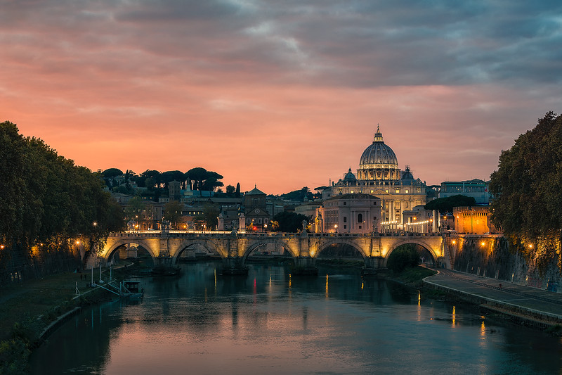 View of Vatican city and bridges of Tiber river - Rome