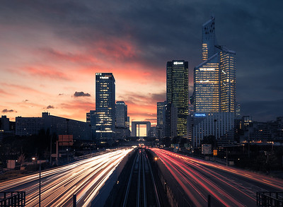 A burning sunset in La Defense Business District - Paris