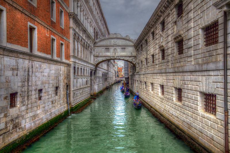 Gondola's Under Bridge Of Sighs, Venice