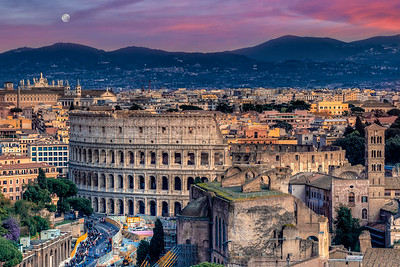 Colosseum With Apennine Mountains, Rome