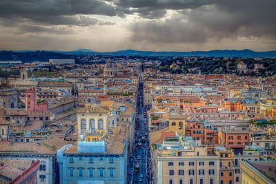 Rooftops With Apennine Mountains, Rome