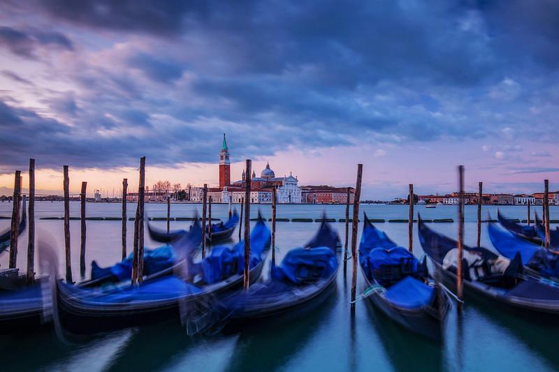 Blurred Gondalas In Venice