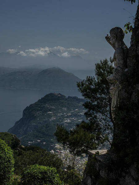 Bay of Naples from Monte Solara overseen by statue of Tiberius who built his retirement villa here