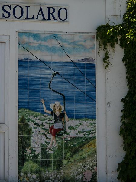 Tile ad for the Monte Solara lift to the peak - Capri
