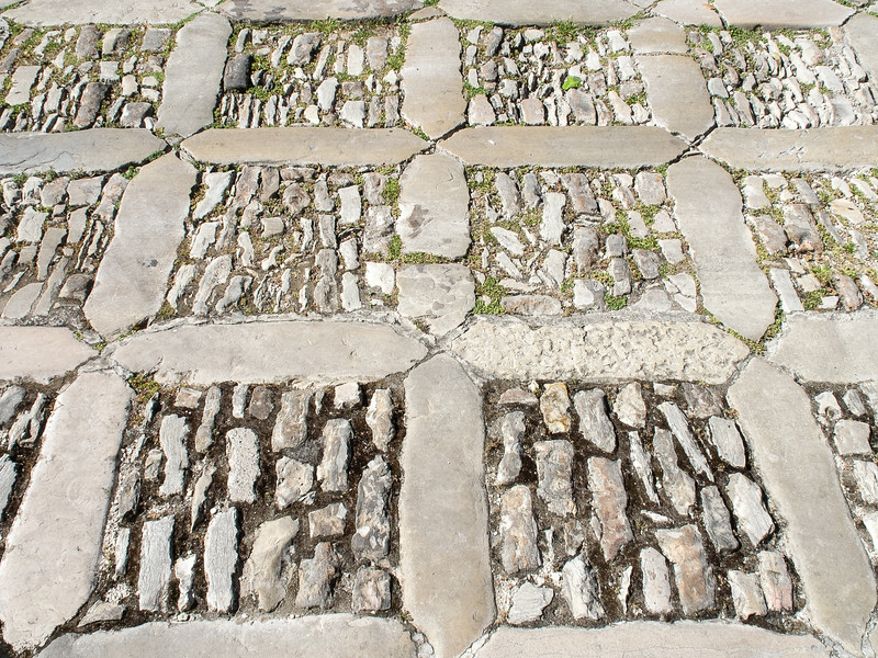 Unusual cobblestone patterned street