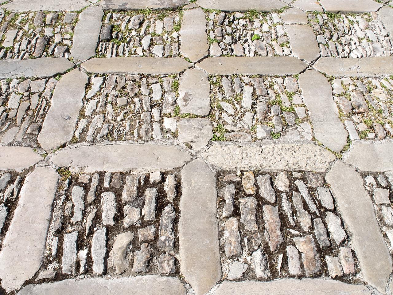 Unusual cobblestone patterned street