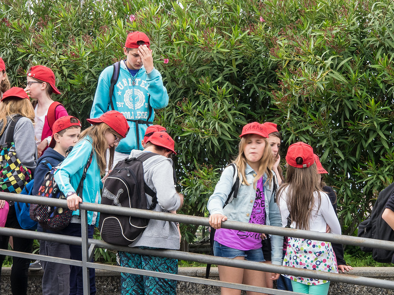 School children in their colorful native dress go to cultural sights in May