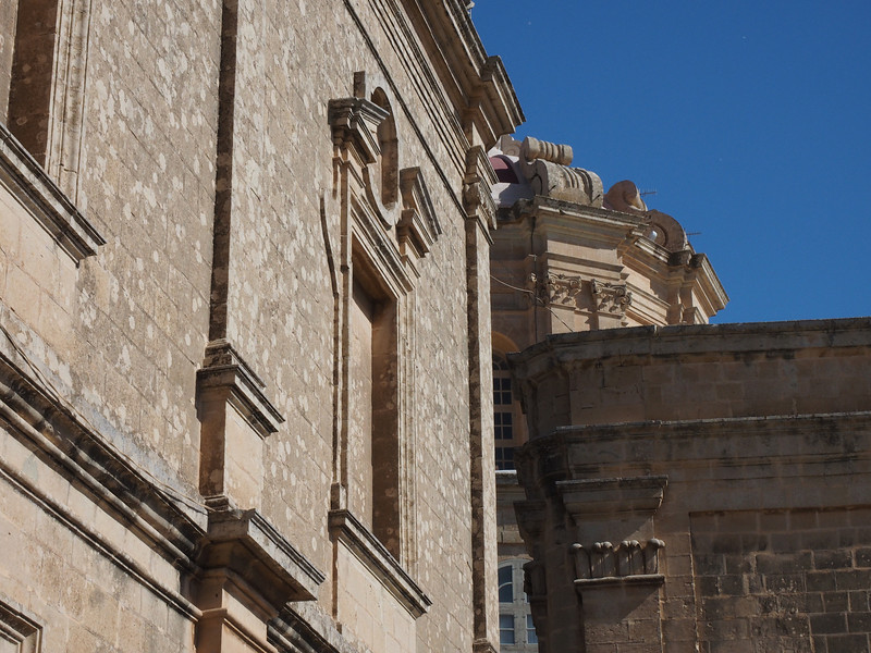 Exterior of St. Paul's Cathedral - Mdina, Malta  Baroque replacement for a church lost in an earthquake.  Reputed to be built on the site of the Villa of Roman Governor Publius, converted to Christianity by St. Paul