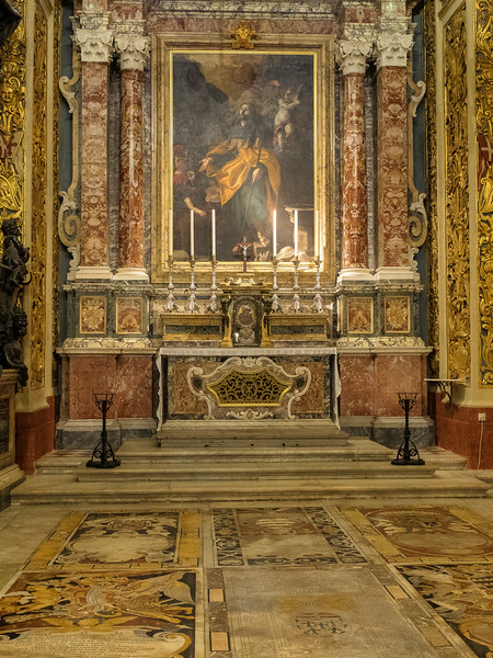 Chapel of the Langue of Castile; Leon and Portugal. Painting of the Apostle James by Mattia Pretti 1600.  Floor of Inlaid Marble Tombs of the Knights