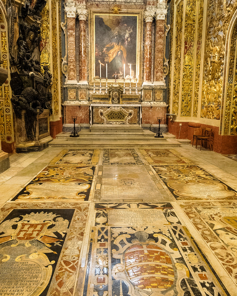 Chapel of the Langue of Castile, Leon and Portugal.  Painting of the Apostle James by Mattias Pretti 1600  Floor of Inlaid Marble Tombs of the Knights