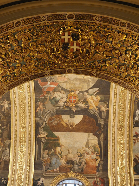 Detail of the decoration of the Vaulting painted with oil rather than fresco