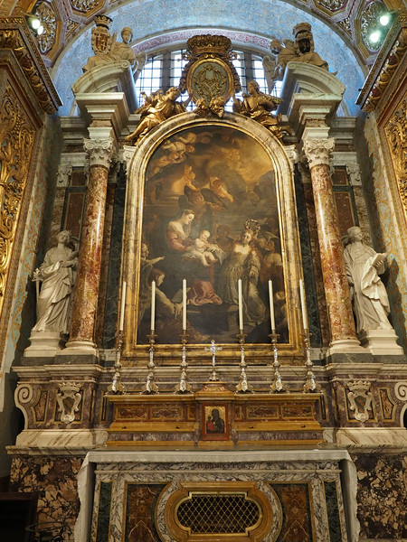 "Chapel of the Langue of Italy. ""The Mystical Marriage of St. Catherine of Alexandria"" (Langues are national groups within the order)"