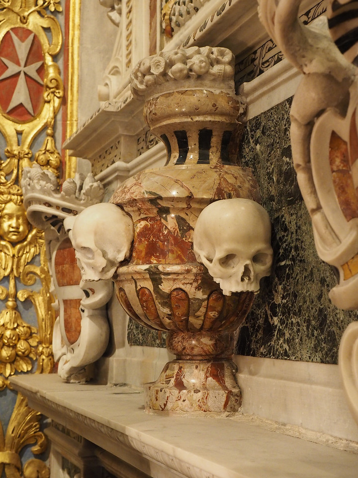 Tomb detail, frequent use of skeletons  & skulls to represent the impermanence of life