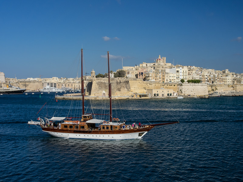 Excursion boat in the Harbor. Valletta, Malta