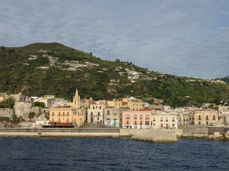 Lipari main harbor and town