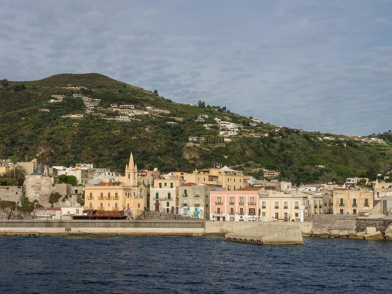 Lipari main harbor and town