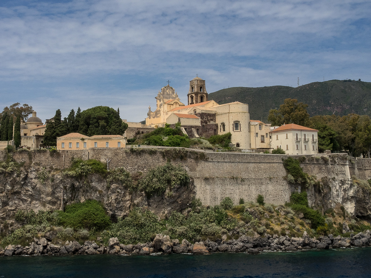 Lipari Acropolis from the sea with the Cathedral (11 th. Century Norman)